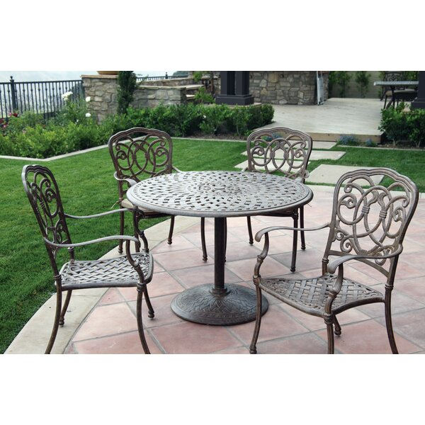 Dolby Traditional 5 Piece Metal Frame Dining Set with Cushions by Astoria Grand
