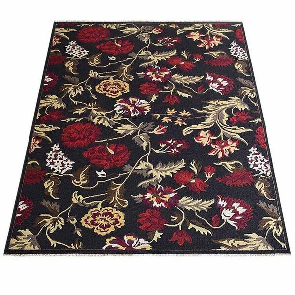 Tullos Sumak Floral Hand-Knotted Wool Red/Black Area Rug by Red Barrel Studio