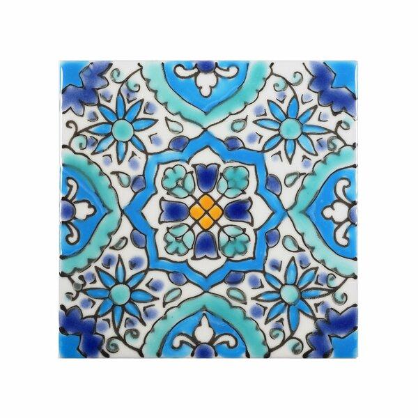 Mediterranean 4 x 4 Ceramic Utica Decorative Tile in Blue by Casablanca Market