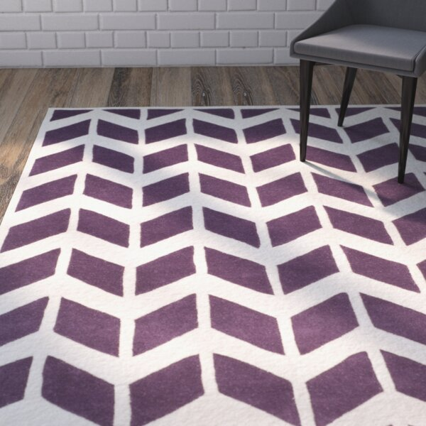 Wilkin Hand-Tufted Wool Purple/Ivory Area Rug by Wrought Studio