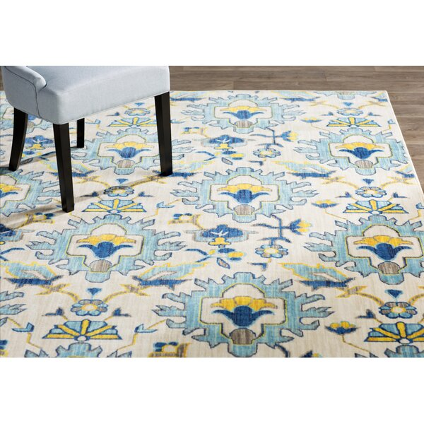 Mansi Blue/Yellow/Beige Area Rug by Bungalow Rose