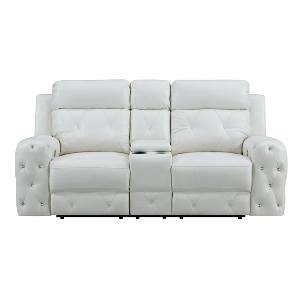 Find Out The Latest Lefebvre Jewel Embellished Power Console Reclining Loveseat Amazing Deals on