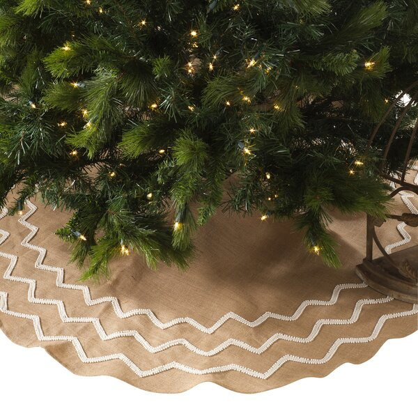 Beaded Burlap Christmas Tree Skirt by House of Ham