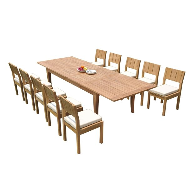 Dario 11 Piece Teak Dining Set by Rosecliff Heights