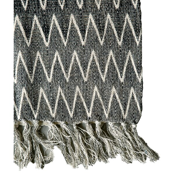 Smudge Natural/Black Chevron Print Cotton Throw by Creative Co-Op