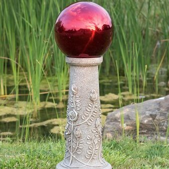 Rose Column Gazing Globe with Pedestal by Echo Valley