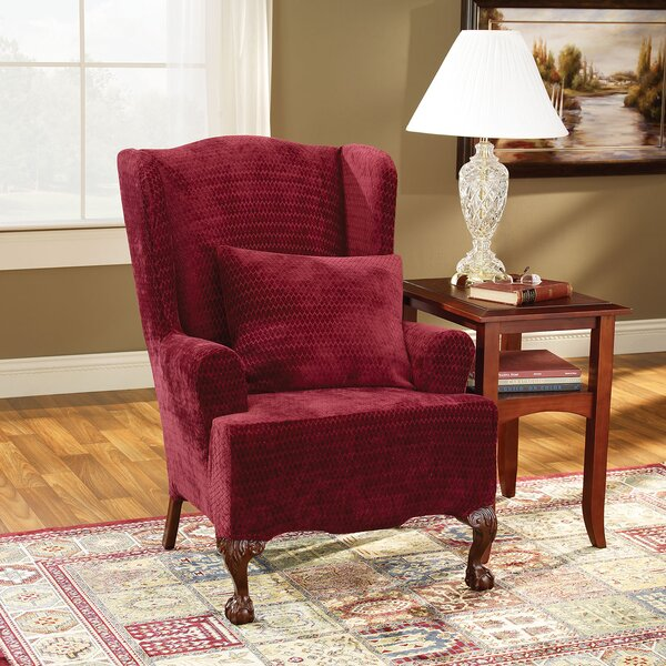 Strech Royal Diamond T-Cushion Wingback Slipcover by Sure Fit