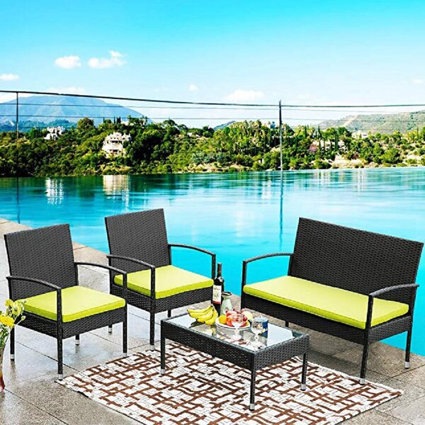 4 Piece Rattan Sofa Seating Group with Cushions by Latitude Run