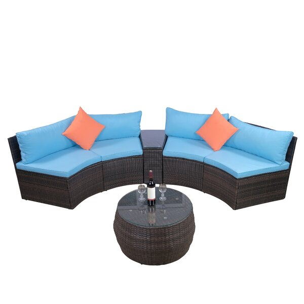 Jeanie Patio 6 Piece Rattan Sectional Seating Group with Cushions by Bay Isle Home