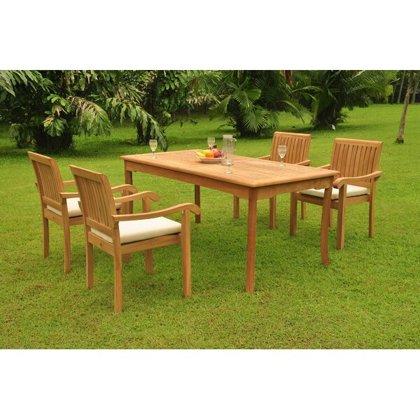 Petrarch 5 Piece Teak Dining Set by Rosecliff Heights