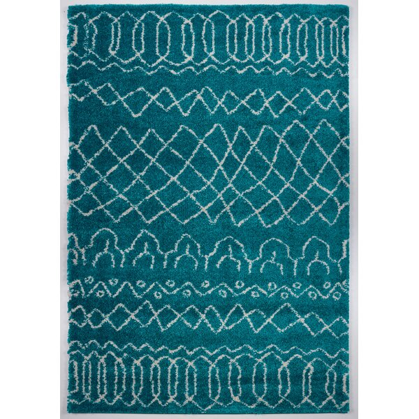 Chesnut Shaggy Turquoise Area Rug by Bungalow Rose