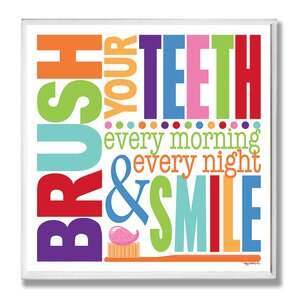 'Brush Every Morning Rainbow' Typography Bathroom Wall Plaque by Viv + Rae