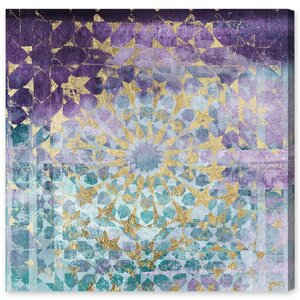 Viridian Violet Mandala Painting Print on Canvas by Mercer41