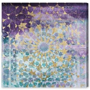 Viridian Violet Mandala Painting Print on Canvas b
