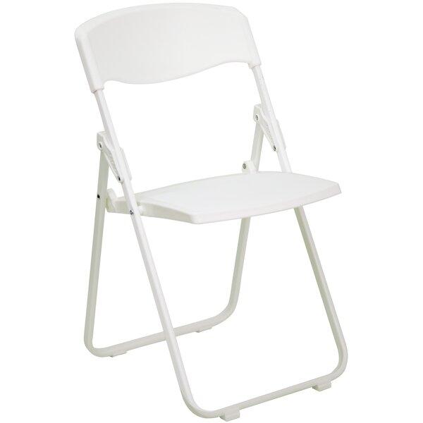 Laduke Heavy Duty Plastic Folding Chair in White by Symple Stuff