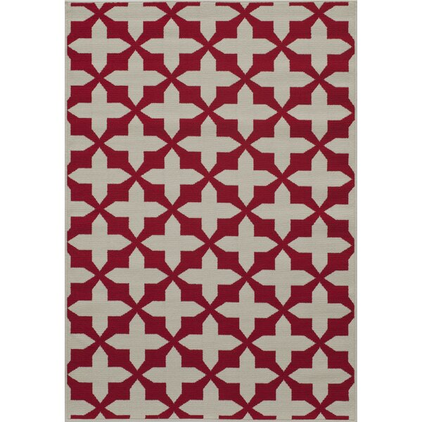 Halliday Red/Tan Indoor/Outdoor Area Rug by Beachcrest Home