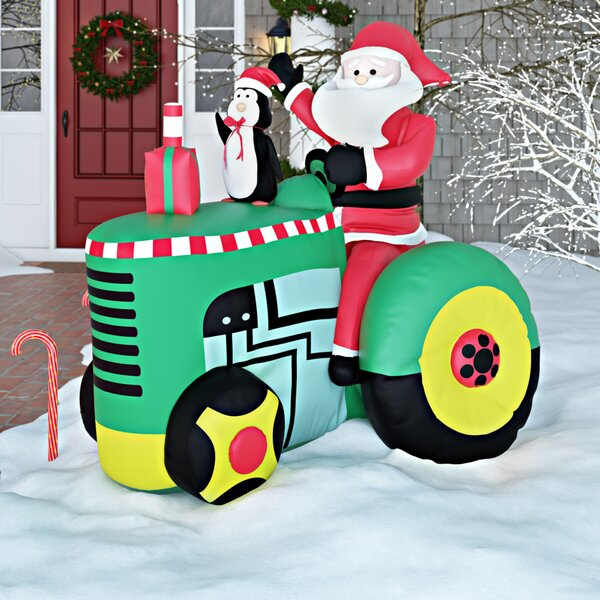 Santa on Tractor Christmas Decoration by Three Pos