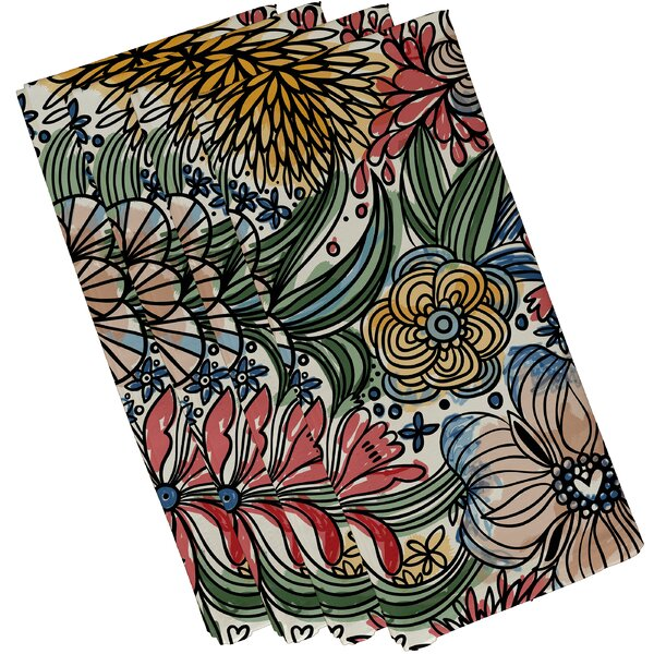 Natahsa Zentangle Floral Print Napkin (Set of 4) b