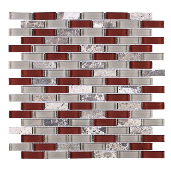 Baby 1 x 2 Glass Tile in Red/Silver by Multile