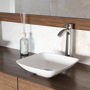 Best Choices VIGO Matte Stone Square Vessel Bathroom Sink with Faucet By VIGO
