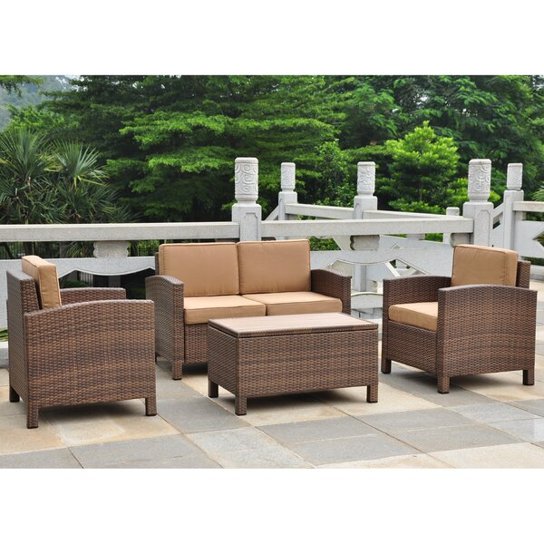 Katzer 4 Piece Rattan Sofa Seating Group with Cushions by Brayden Studio