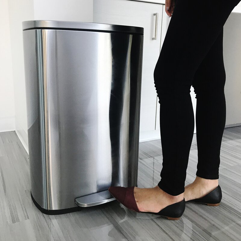 Charming Soft Step Stainless Steel Kitchen 13.2 Gallon Step On Trash Can