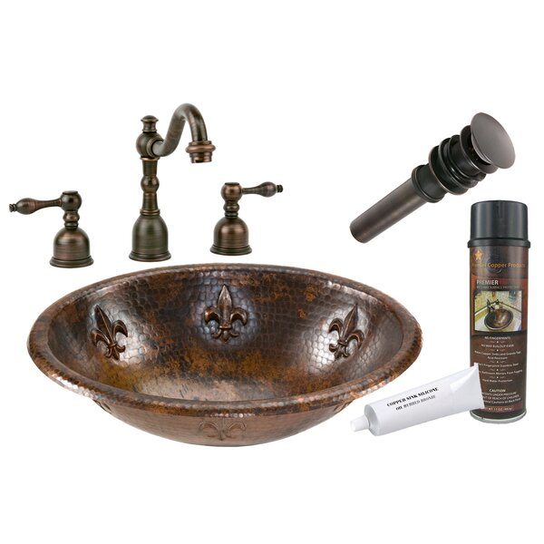 Fleur De Lis Metal Oval Drop-In Bathroom Sink with Faucet by Premier Copper Products