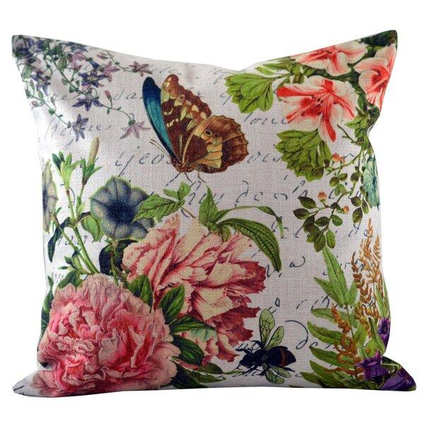 Butterfly Floral Insert Throw Pillow by Golden Hill Studio
