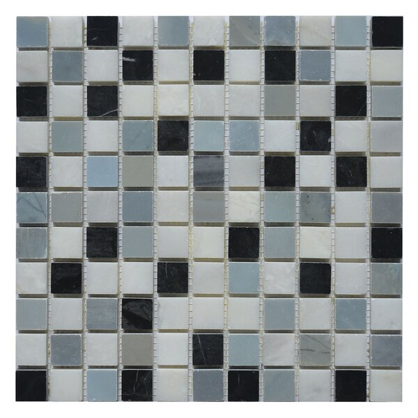 Soul Soar 1 x 1 Marble Mosaic Tile in White/Black by Matrix Stone USA
