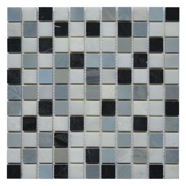 Soul Soar 1 x 1 Marble Mosaic Tile in White/Black by Matrix Stone USA