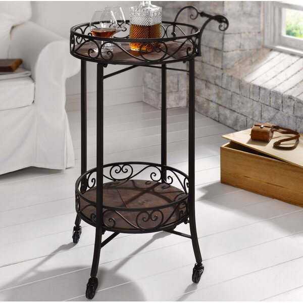 Crookston 2-Tier Portable Metal Kitchen Bar Cart By Fleur De Lis Living