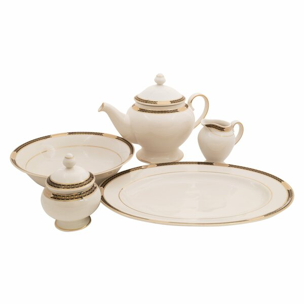 Elite Ivory China Traditional Serving 5 Piece Dinnerware Set by Shinepukur Ceramics USA, Inc.