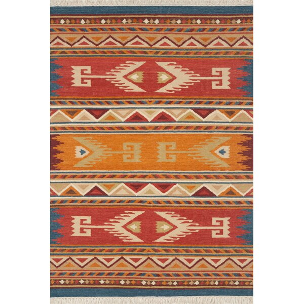 Lodge Hand-Woven Flatweave Wool Red/Orange Area Rug by Continental Rug Company