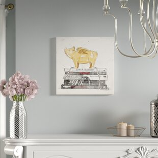 Flying Pig Books Luxe Graphic Art On Wred Canvas