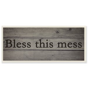 Bless this Mess Black Rustic Textual Art by Stupell Industries