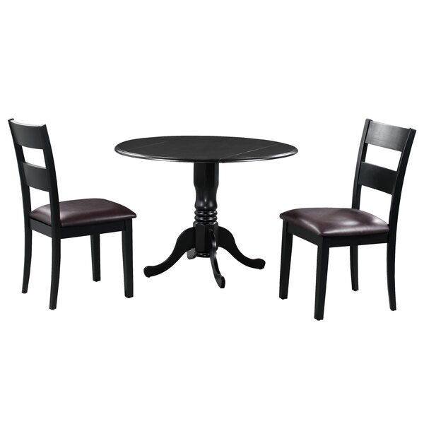 Brompton 3 Piece Drop Leaf Solid Wood Dining Set by Alcott Hill