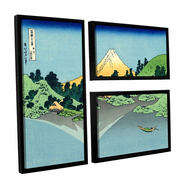 The Fuji Reflects in Lake Kawaguchi, Seen from the Misaka Pass in the Kai Province by Katsushika Hokusai 3 Piece Framed Painting Print Set by ArtWall