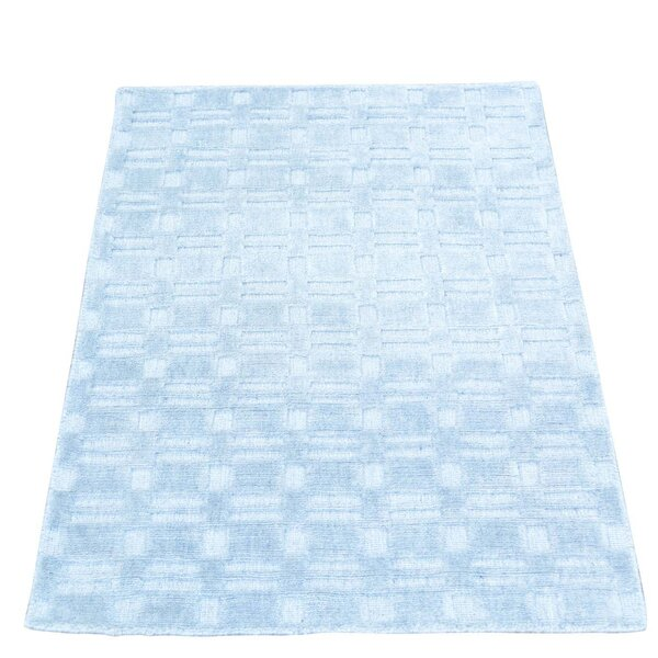 Tone on Tone Hand-Knotted Blue Area Rug by Bungalow Rose