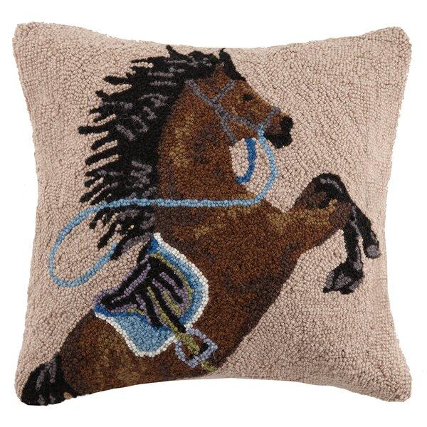 Charging Horse Wool Throw Pillow by Peking Handicraft