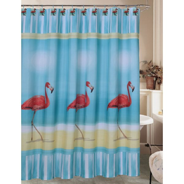 Almont Flamingo Paradise Fabric Shower Curtain by Highland Dunes