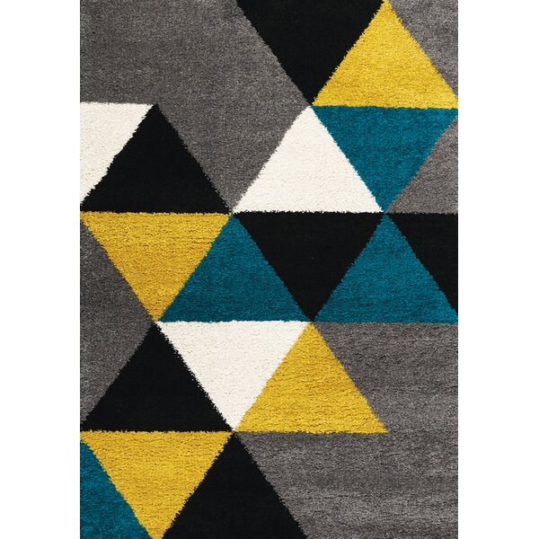 Delgadillo Colorful Triangles Soft Touch Gray/Yellow Area Rug by Brayden Studio