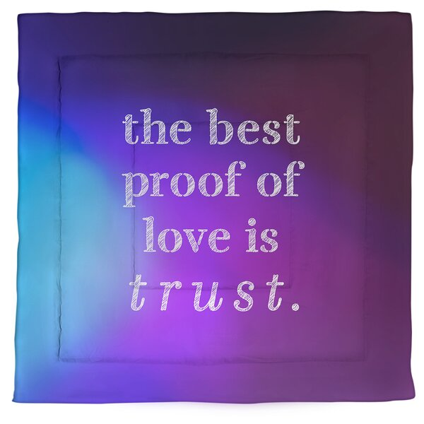 Love & Trust Quote Single Reversible Comforter