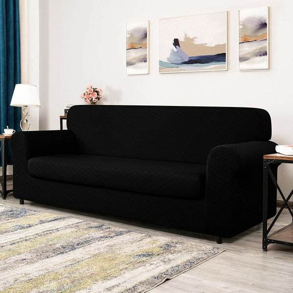 Rhombus Jacquard Box Cushion Sofa Slipcover By Winston Porter
