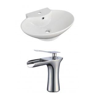 Compare & Buy Ceramic 23 Wall Mount Bathroom Sink with Faucet and Overflow ByRoyal Purple Bath Kitchen