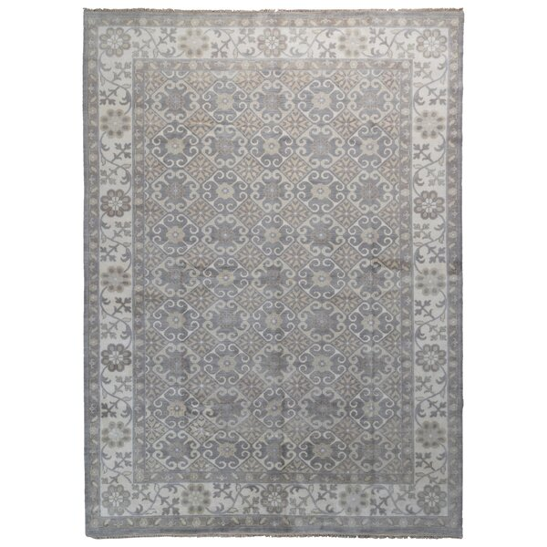 One-of-a-Kind Finadeni Oriental Hand-Knotted Wool Gray/Blue Area Rug by Isabelline