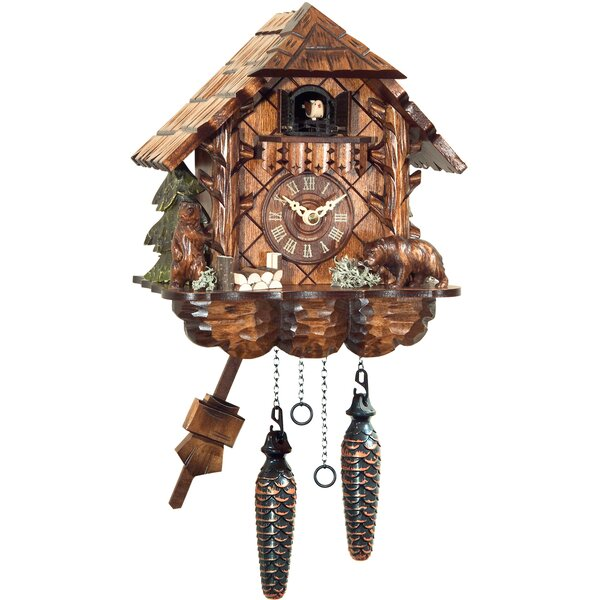 Battery-Operated Carved Bears Cuckoo Wall Clock by Loon Peak