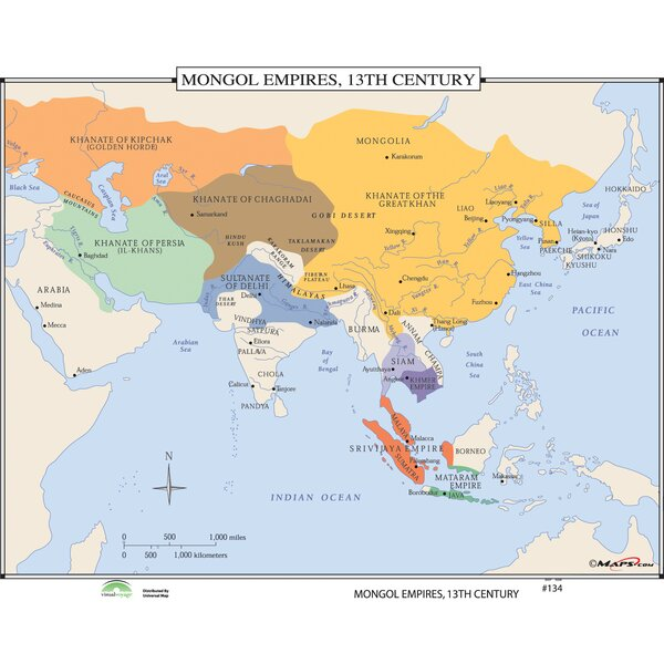 World History Wall Maps - Mongol Empires 13th Century by Universal Map