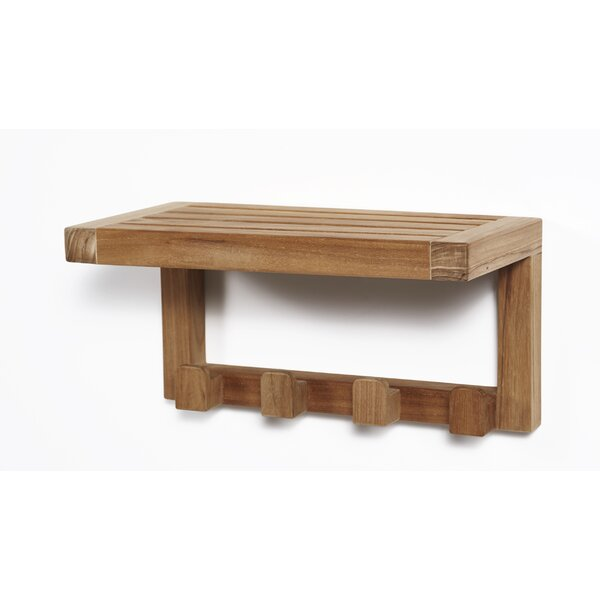 Wall Shelf with 4 Hooks by ARB Teak & Specialties