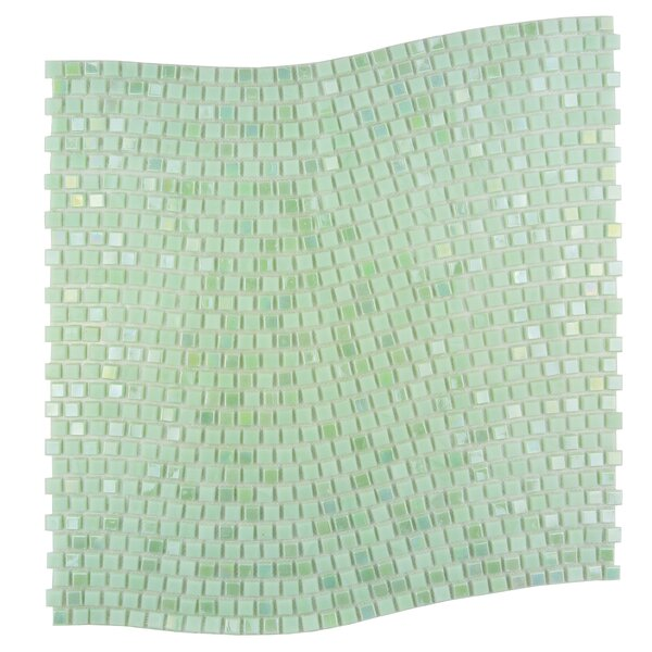 Galaxy Wavy 0.31 x 0.31 Glass Mosaic Tile in Green by Abolos
