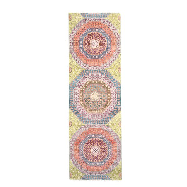 One-of-a-Kind Tamia Hand-Knotted 3 x 10 Wool Orange Area Rug by Bungalow Rose
